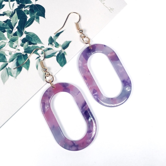Jewelry - Oval Tortoise Shell Resin Dangle Earrings